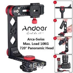 Andoer 720°Panoramic Ball Head Tripod Adapter +QR Quick Release Plate for DSLR