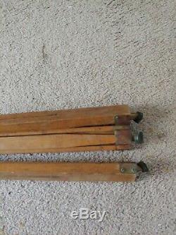 Antique Vtg Wooden & Metal Plate Camera Tripod Adj. Wood Transit Stand