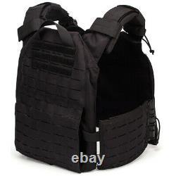 Black Plate Carrier Tactical Vest- Laser Cut Molle- Quick Release- Airsoft
