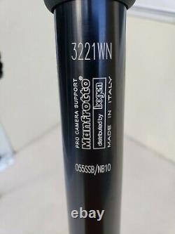 Manfrotto 3221WN 055SSB/NB10 Pro Camera Support Tripod w 486RC2 Head NO QR PLATE