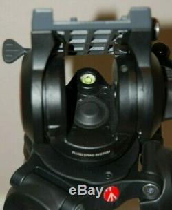 Manfrotto MVT502AM Tripod MVH500A Fluid Drag System Excellent Case & QR Plates