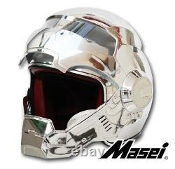 Masei 610 Silver Plating Chrome Atomic-Man Motorcycle Removable Mask Helmet