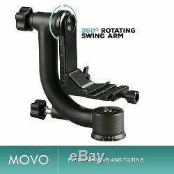 Movo GH800 Carbon Fiber Gimbal Tripod Head with Arca-Swiss Quick Release Plate