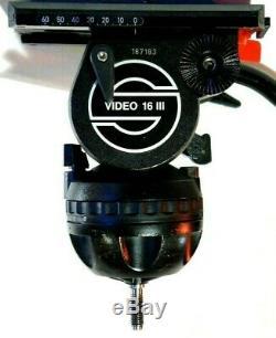SACHTLER FLUID HEAD V18 MARKED V16-III WITH TELESCOPIC PAN BAR WEDGE PLATE 44Lbs