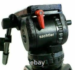 Sachtler FLUID HEAD Video 18P PLUS PLATE TIE DOWN PAN BAR HANDLE SERVICED 44Lbs